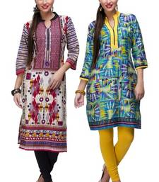 Buy Green and maroon cotton printed stitched kurti combo-kurti online