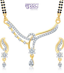 Sukkhi Attractive Gold and Rhodium Plated Cubic Zirconia Stone Studded Mangalsutra Set(14033MSCZK1400) shop online