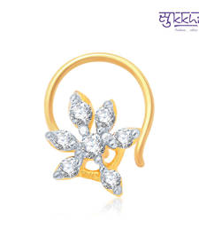 Buy Sukkhi Appealing Gold and Rhodium Plated CZ Nose Pin(36011NPCZK200) nose-ring online