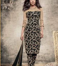 Buy Black embroidered georgette unstitched salwar with dupatta dress-material online