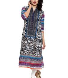 Buy Multicolor printed cotton long-kurtis long-kurti online