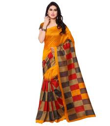 Buy orange printed bhagalpuri silk saree with blouse bhagalpuri-silk-saree online