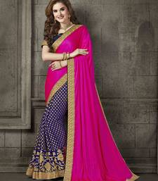 Buy Magenta embroidered art silk saree with blouse art-silk-saree online