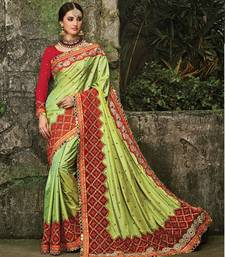 Buy Green embroidered silk saree with blouse ethnic-saree online