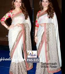Buy white embroidered satin saree with blouse tamanna-bhatia-saree online