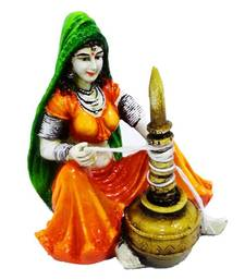 Buy Rajasthani Home Lady Making Curd sculpture online