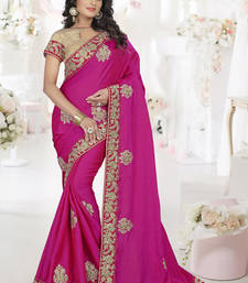 Buy Dark rani pink embroidered silk saree with blouse wedding-saree online