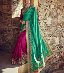 Buy Green embroidered tussar silk saree with blouse half-saree online
