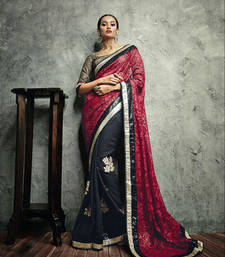 Buy Vishal Maroon Black Saree Iifanazakat33515 party-wear-saree online
