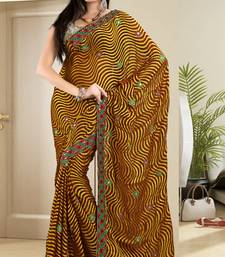 Buy  Riveting Golden Brasso Saree With Blouse brasso-saree online
