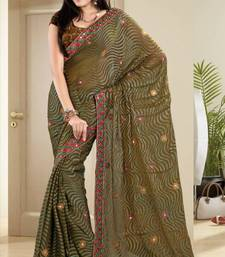Buy  Riveting Mehendi Green Brasso Saree With Blouse brasso-saree online
