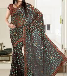 Buy  Elegant Light Brown Brasso Saree With Blouse brasso-saree online