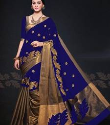 Buy Blue color Kora Silk Embroidered Saree with Blouse  kota-silk-saree online