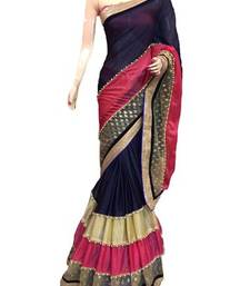 Buy Blue plain dupion saree with blouse dupion-saree online