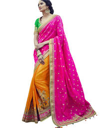 Buy Rani pink embroidered tussar silk saree with blouse tussar-silk-saree online
