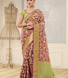 Buy Magenta woven banarasi silk saree with blouse banarasi-silk-saree online