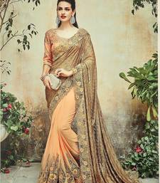 Buy Apricot embroidered georgette saree with blouse bridal-saree online
