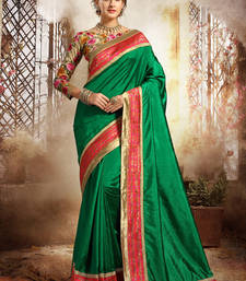 Buy Green plain dupion silk saree with blouse dupion-saree online