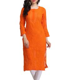 Orange hand embroidred faux georgette lucknowi chikankari Kurti shop online