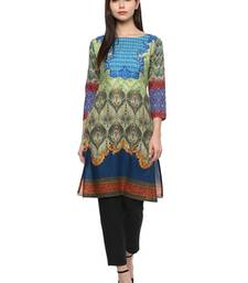 Buy Multicolorcolor printed cotton stitched kurti party-wear-kurti online