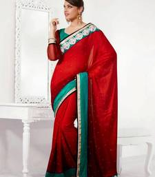 Buy Red & Green Color Satin Saree DCS34002 satin-saree online