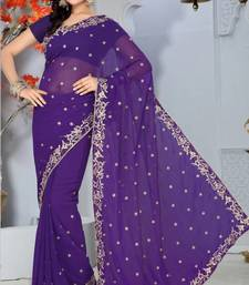 Buy Ink Blue Color Faux Chiffon Saree with Blouse chiffon-saree online