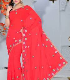 Buy Carrot Pink Color Faux Georgette Saree with Blouse georgette-saree online