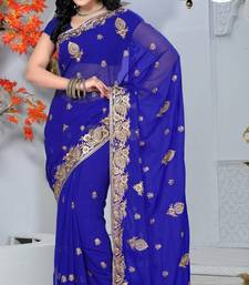 Buy Royal Blue Color Faux Georgette Saree with Blouse georgette-saree online