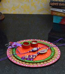 Buy eCraftIndia Rakhi set for Bhaiya/Bhabhi with Papier-Mache Pooja Thali & Roli-Tikka tray online