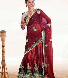 Buy Maroon & Green Color Net And Satin  Saree DCS33018 satin-saree online