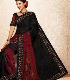 Buy Black & Maroon Color Cotton Saree DCS106 cotton-saree online