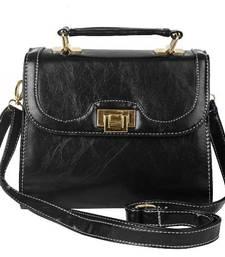 Buy Just Women Jet Black PU Leather Satchel sling-bag online