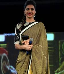 Deepika padukon Green yellow Half Half saree shop online