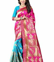 Buy Pink hand woven cotton silk saree with blouse handloom-saree online