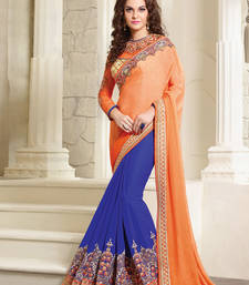 Buy Peach embroidered georgette saree with blouse wedding-saree online