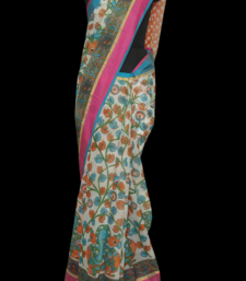 Buy printed kora cotton in white chiffon-saree online