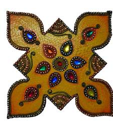 Buy eCraftIndia Papier Mache Colorful Floor Rangoli with Gemstones wall-art online