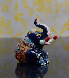 Buy eCraftIndia Meenakari Metal Staue of Baby Elephant other-home-accessory online