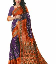 Buy Orange printed bhagalpuri silk saree with blouse bandhani-sarees-bandhej online