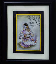 Buy eCraftIndia Gorgeous Ragini Painting with Swan (Wooden Framed) wall-art online