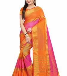 Buy Orange printed cotton saree with blouse cotton-saree online