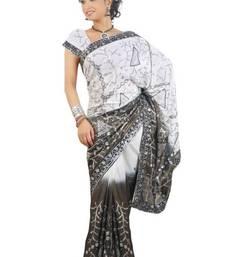 Buy Aria  Black & White Georgette Saree TTEG1810A cotton-saree online