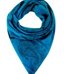 Buy TURQUOISE WOOL PRINTED STOLE BY ELABORE stole-and-dupatta online