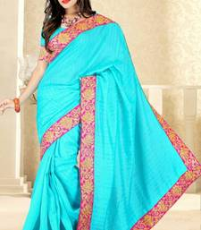 Buy Sky Blue color bhagalpuri silk saree with blouse bhagalpuri-silk-saree online