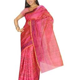 Buy Aria Printed Tussar Art Silk Saree in Pink KS008 tussar-silk-saree online