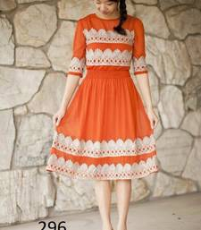 Buy Orange embroidered georgette kurtis georgette-kurti online