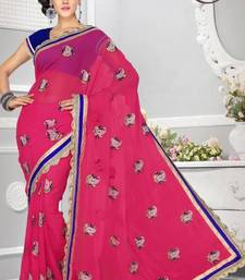 Buy Stylish Carrot Pink Color Faux Chiffon Party Wear Saree with Blouse chiffon-saree online