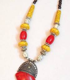 Buy Chic and dainty tribal gipsy colored bead necklace Necklace online