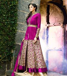 Buy pink embroidered bhagalpuri cotton semi stitched salwar with dupatta semi-stitched-salwar-suit online