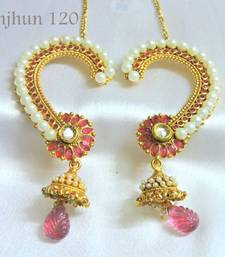Buy polki ruby pearl kanphool danglers-drop online